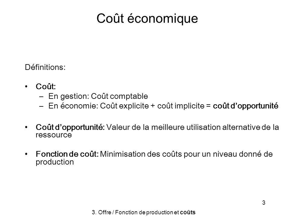 3 Coût économique Définitions: Coût: –En gestion: Coût comptable –En économie: Coût explicite + coût implicite = coût dopportunité Coût dopportunité: