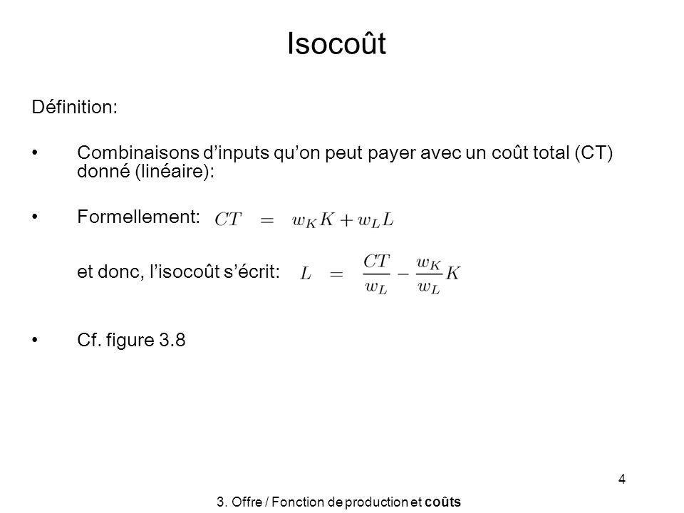 4 Isocoût Définition: Combinaisons dinputs quon peut payer avec un coût total (CT) donné (linéaire): Formellement: et donc, lisocoût sécrit: Cf. figur