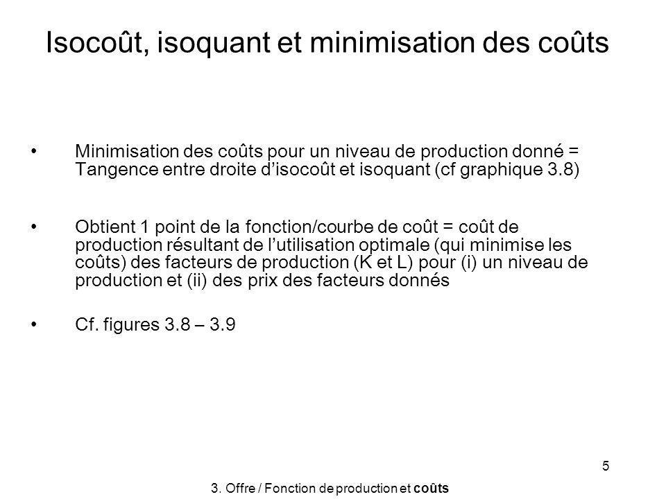 5 Isocoût, isoquant et minimisation des coûts Minimisation des coûts pour un niveau de production donné = Tangence entre droite disocoût et isoquant (