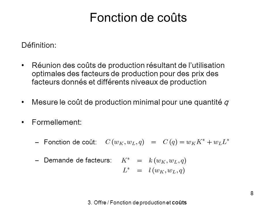 8 Fonction de coûts Définition: Réunion des coûts de production résultant de lutilisation optimales des facteurs de production pour des prix des facte