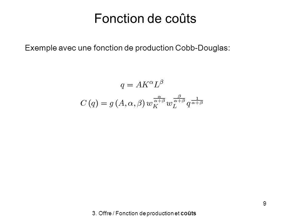 9 Fonction de coûts Exemple avec une fonction de production Cobb-Douglas: 3. Offre / Fonction de production et coûts