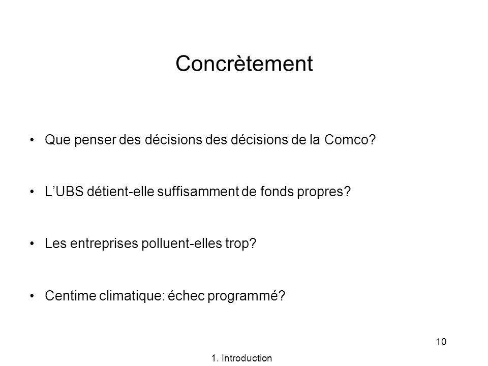 10 Concrètement Que penser des décisions des décisions de la Comco? LUBS détient-elle suffisamment de fonds propres? Les entreprises polluent-elles tr