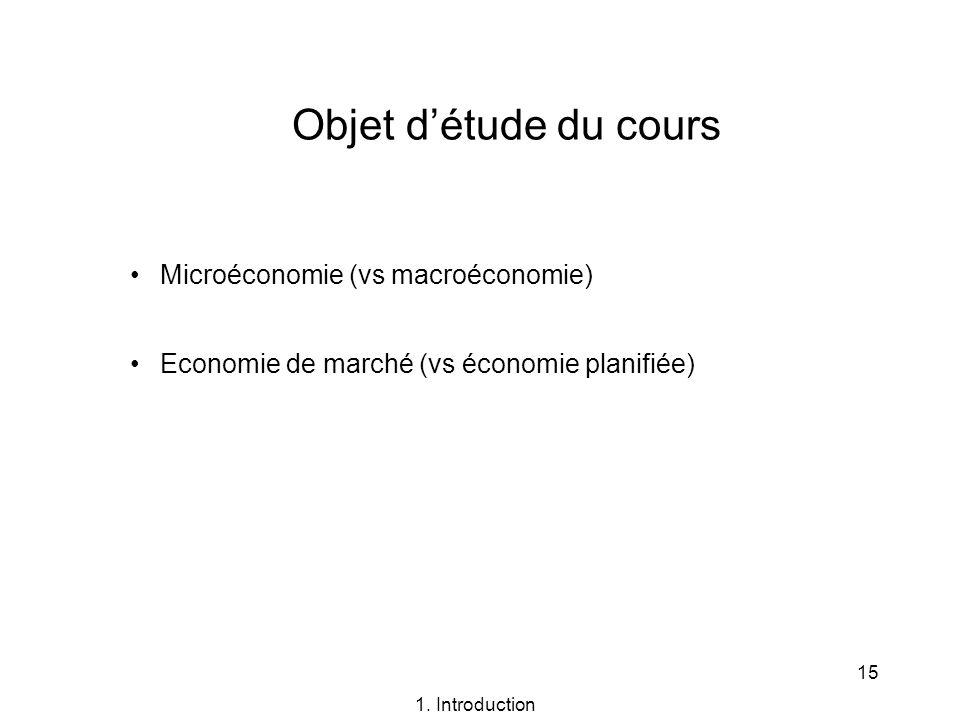 15 Objet détude du cours Microéconomie (vs macroéconomie) Economie de marché (vs économie planifiée) 1. Introduction