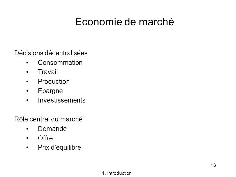 16 Economie de marché Décisions décentralisées Consommation Travail Production Epargne Investissements Rôle central du marché Demande Offre Prix déqui