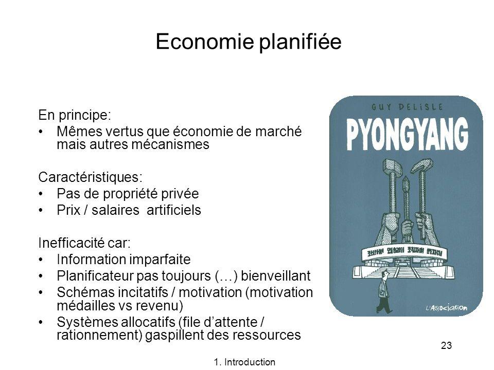 23 Economie planifiée En principe: Mêmes vertus que économie de marché mais autres mécanismes Caractéristiques: Pas de propriété privée Prix / salaire