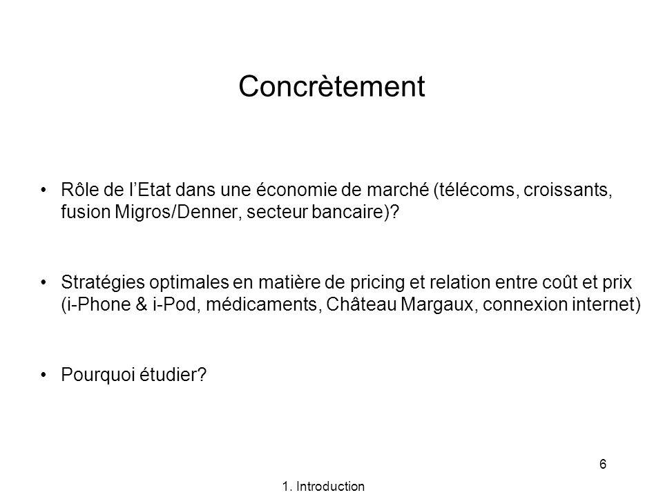 6 Concrètement Rôle de lEtat dans une économie de marché (télécoms, croissants, fusion Migros/Denner, secteur bancaire)? Stratégies optimales en matiè