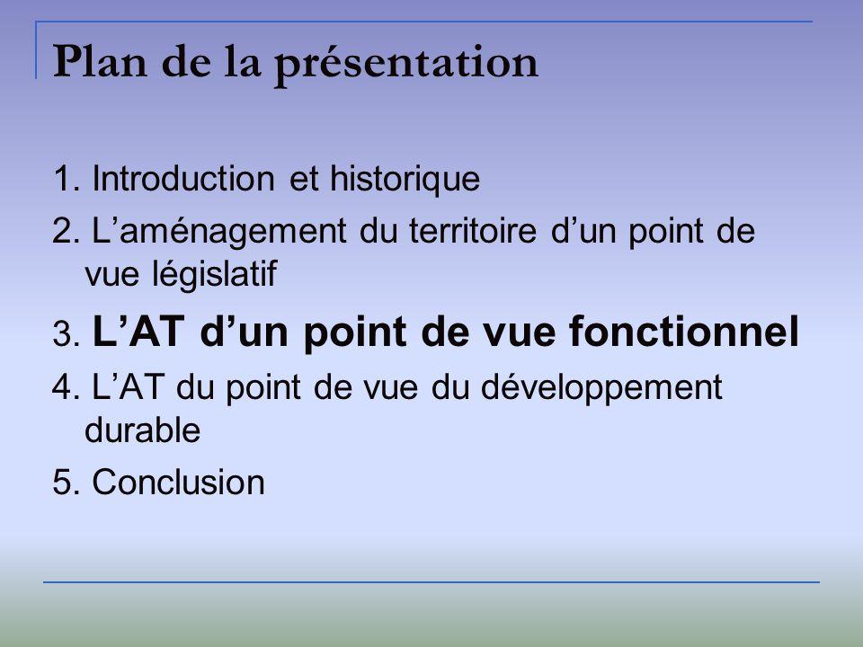 Plan de la présentation 1. Introduction et historique 2. Laménagement du territoire dun point de vue législatif 3. LAT dun point de vue fonctionnel 4.