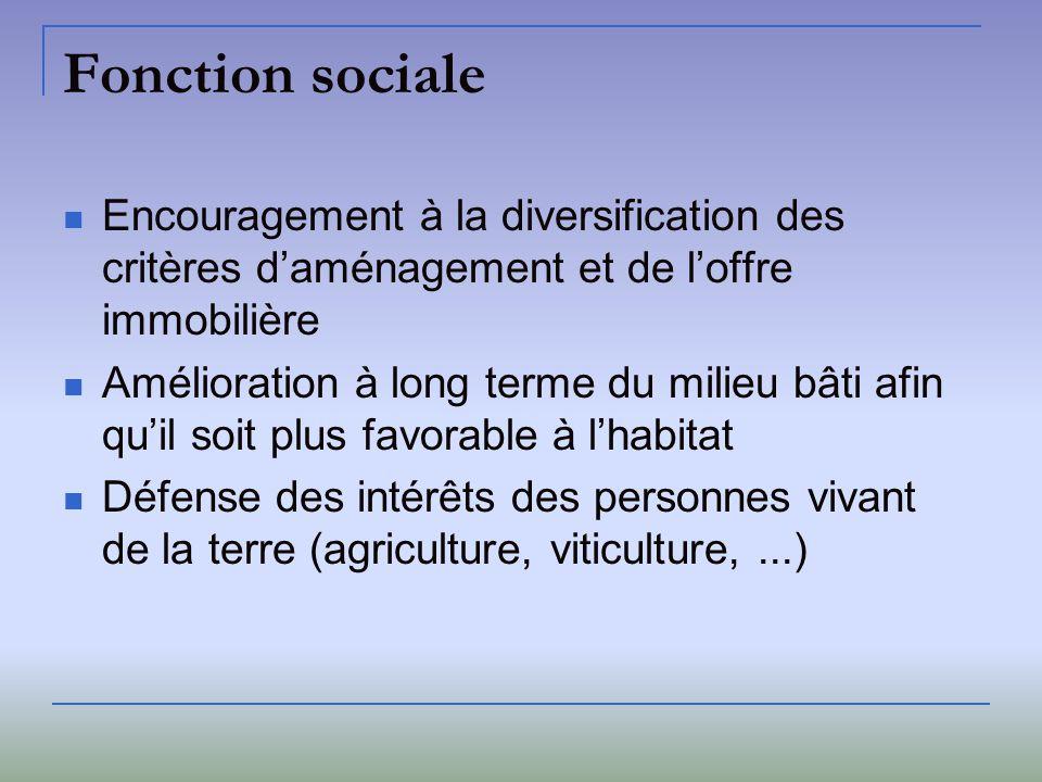 Fonction sociale Encouragement à la diversification des critères daménagement et de loffre immobilière Amélioration à long terme du milieu bâti afin q