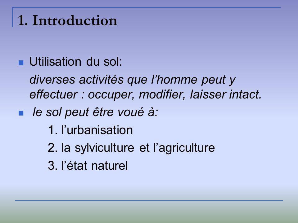 1. Introduction Utilisation du sol: diverses activités que lhomme peut y effectuer : occuper, modifier, laisser intact. le sol peut être voué à: 1. lu