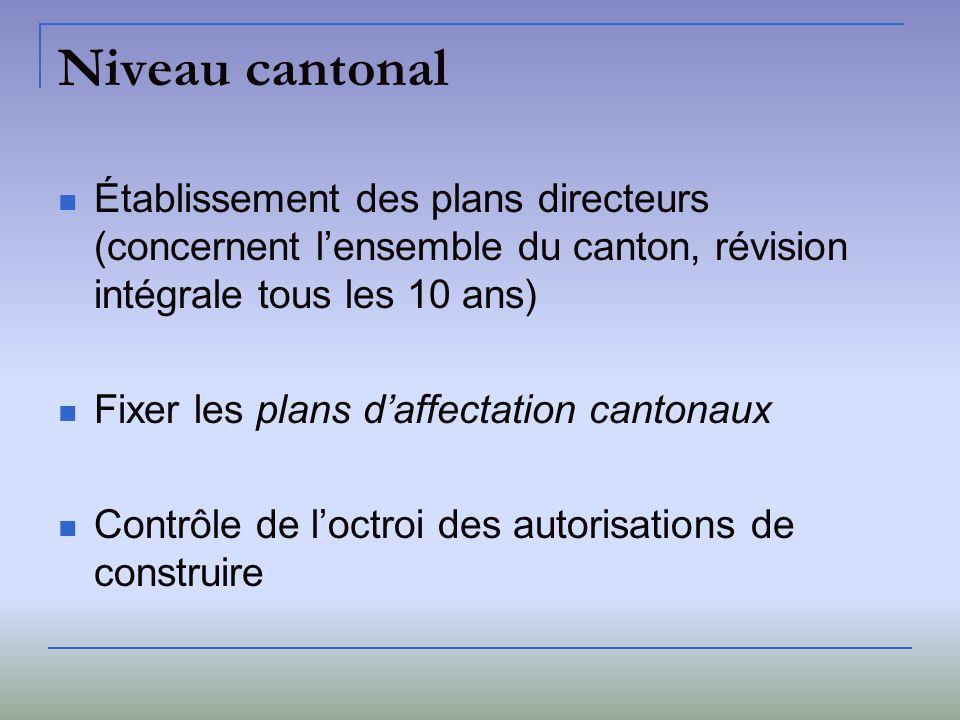 Niveau communal Soccupe généralement: - séparation entre zones constructibles et non constructibles - léquipement des terrains à bâtir - remembrements - octroi dautorisation de construire