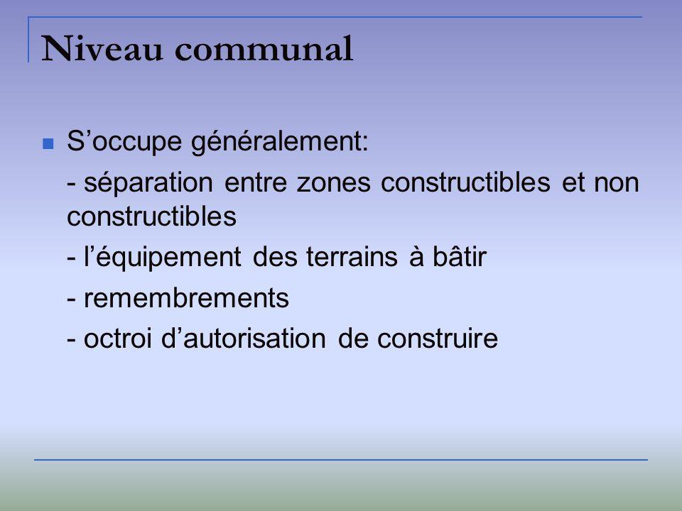 Niveau communal Soccupe généralement: - séparation entre zones constructibles et non constructibles - léquipement des terrains à bâtir - remembrements