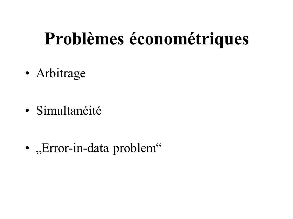 Problèmes économétriques Arbitrage Simultanéité Error-in-data problem