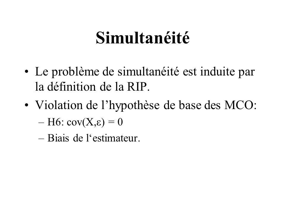 Simultanéité Le problème de simultanéité est induite par la définition de la RIP.