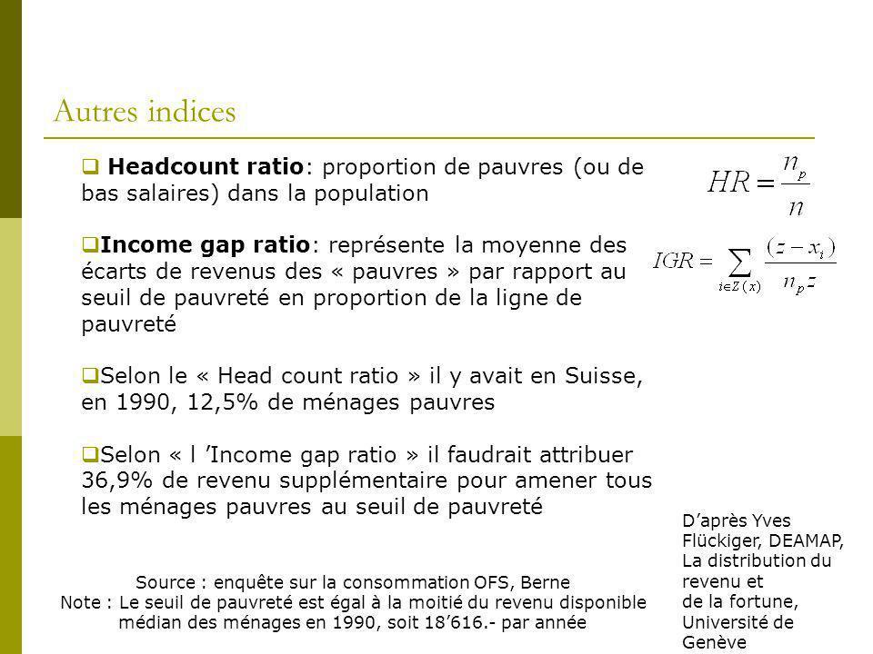 Autres indices Headcount ratio: proportion de pauvres (ou de bas salaires) dans la population Income gap ratio: représente la moyenne des écarts de re