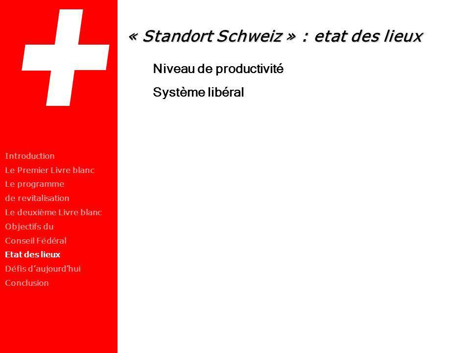 « Standort Schweiz » : etat des lieux Niveau de productivité Système libéral Introduction Le Premier Livre blanc Le programme de revitalisation Le deu