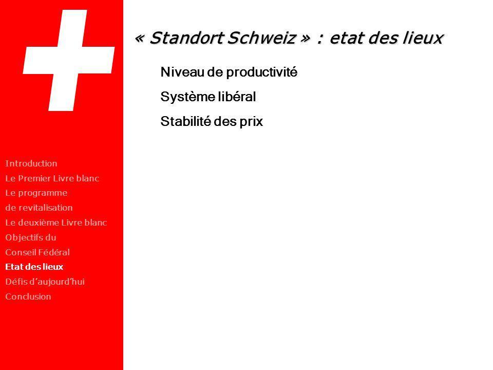 « Standort Schweiz » : etat des lieux Niveau de productivité Système libéral Stabilité des prix Introduction Le Premier Livre blanc Le programme de re