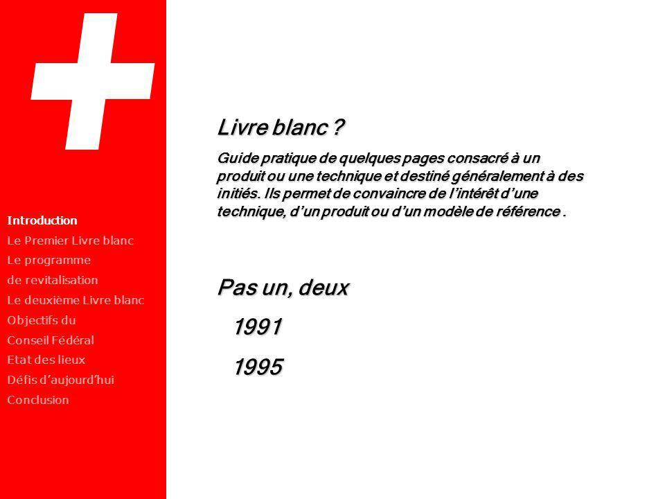 Introduction Le Premier Livre blanc Le programme de revitalisation Le deuxième Livre blanc Objectifs du Conseil Fédéral Etat des lieux Défis daujourdh