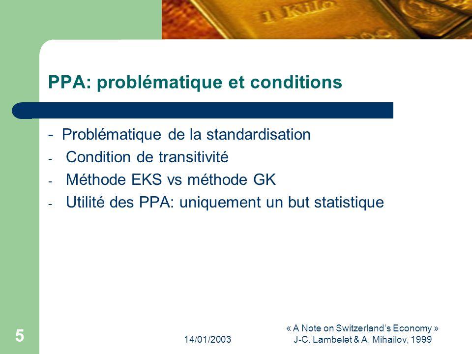 14/01/2003 « A Note on Switzerlands Economy » J-C.