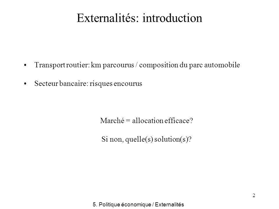 2 Externalités: introduction Transport routier: km parcourus / composition du parc automobile Secteur bancaire: risques encourus Marché = allocation e