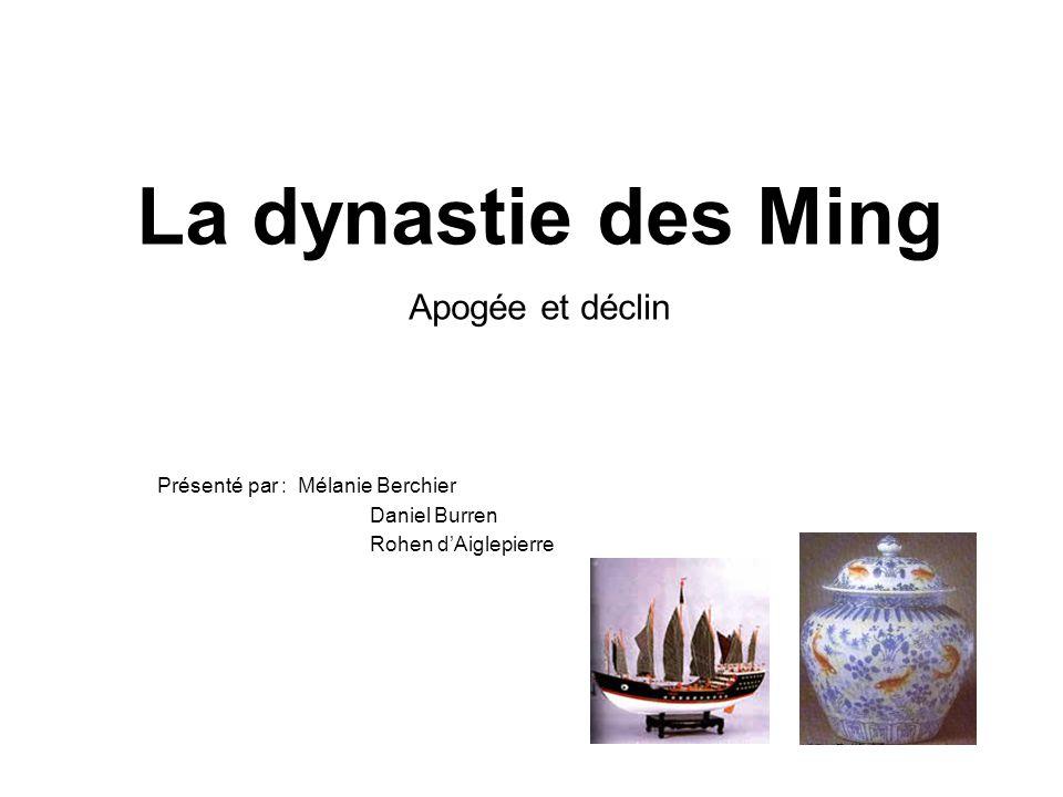 La dynastie des Ming Apogée et déclin Présenté par : Mélanie Berchier Daniel Burren Rohen dAiglepierre