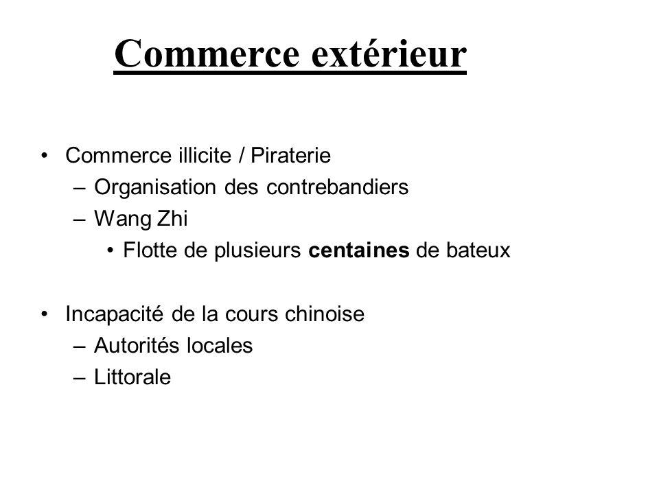 Commerce illicite / Piraterie –Organisation des contrebandiers –Wang Zhi Flotte de plusieurs centaines de bateux Incapacité de la cours chinoise –Auto