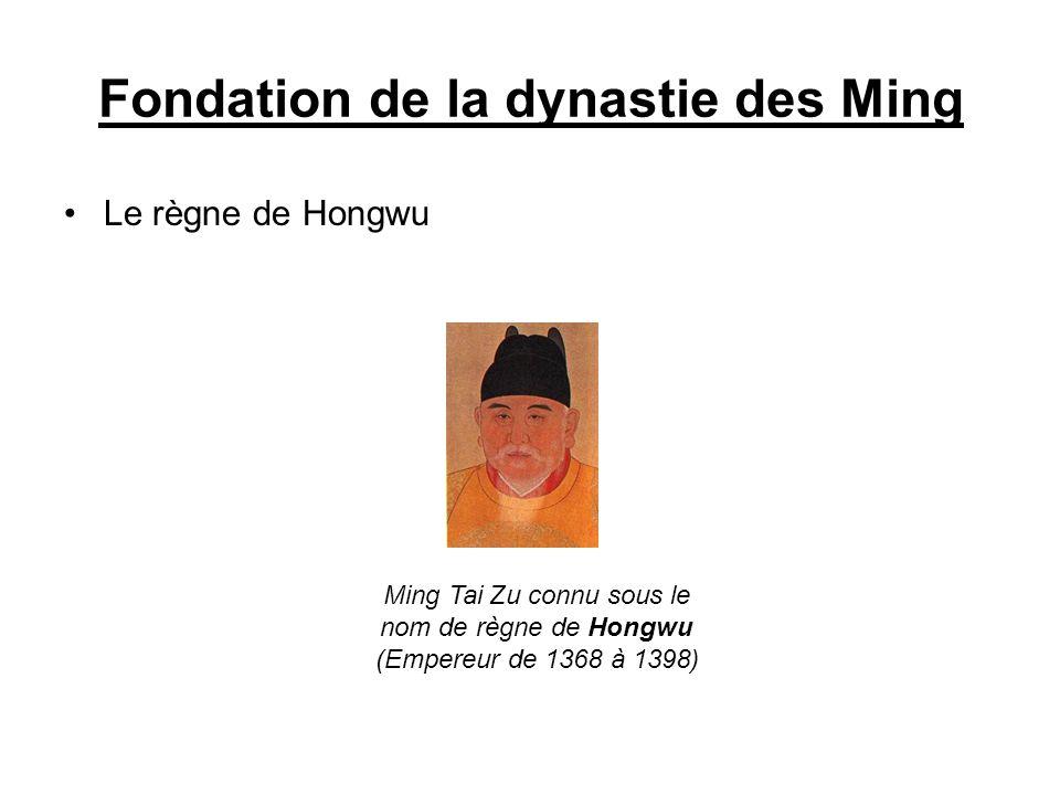 Fondation de la dynastie des Ming Le règne de Hongwu Ming Tai Zu connu sous le nom de règne de Hongwu (Empereur de 1368 à 1398)