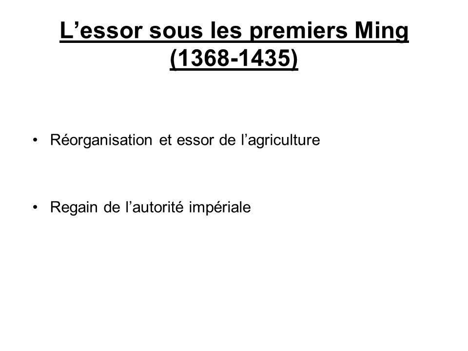 Lessor sous les premiers Ming (1368-1435) Réorganisation et essor de lagriculture Regain de lautorité impériale