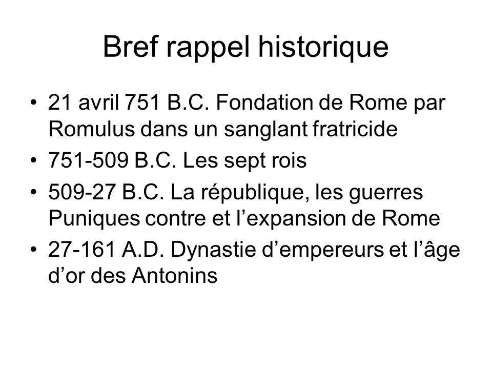 Bref rappel historique 21 avril 751 B.C. Fondation de Rome par Romulus dans un sanglant fratricide 751-509 B.C. Les sept rois 509-27 B.C. La républiqu