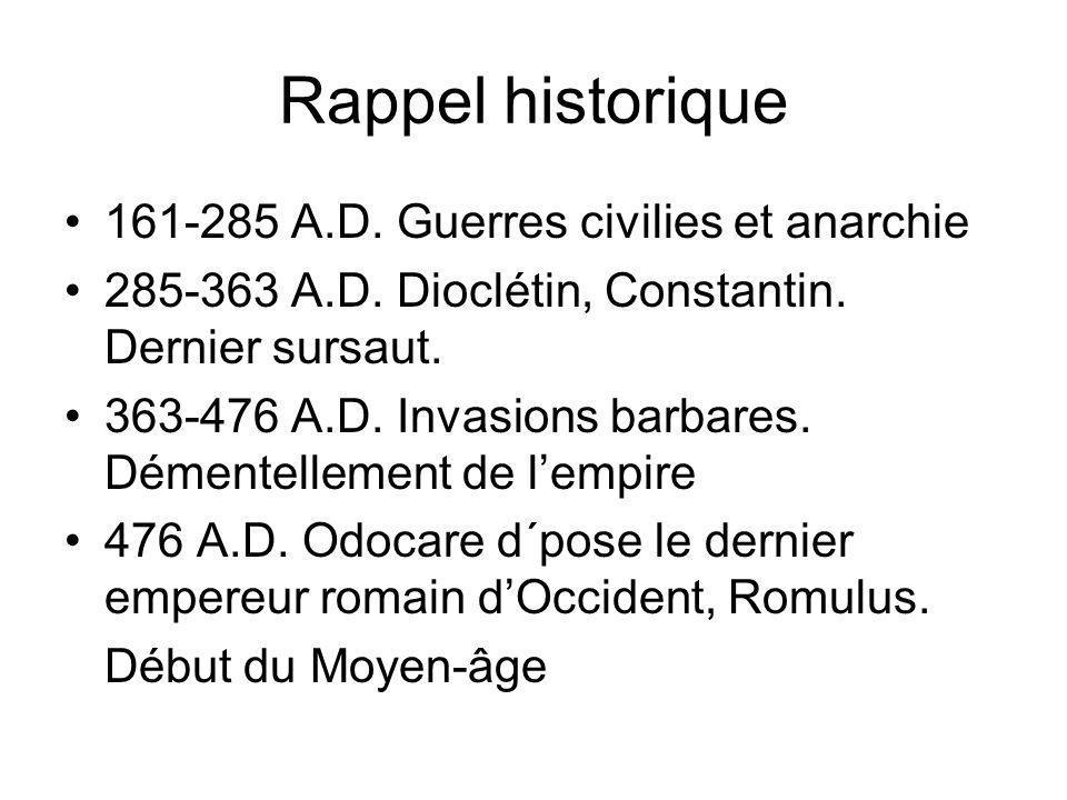 Rappel historique 161-285 A.D. Guerres civilies et anarchie 285-363 A.D. Dioclétin, Constantin. Dernier sursaut. 363-476 A.D. Invasions barbares. Déme