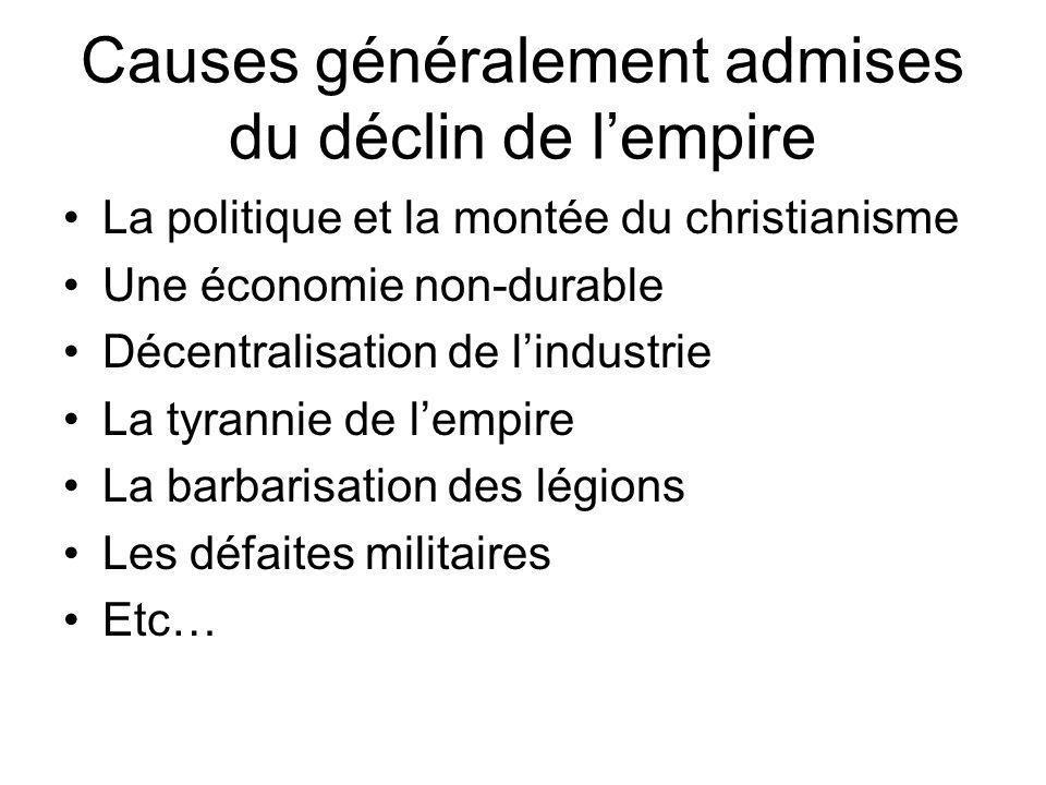 Causes généralement admises du déclin de lempire La politique et la montée du christianisme Une économie non-durable Décentralisation de lindustrie La