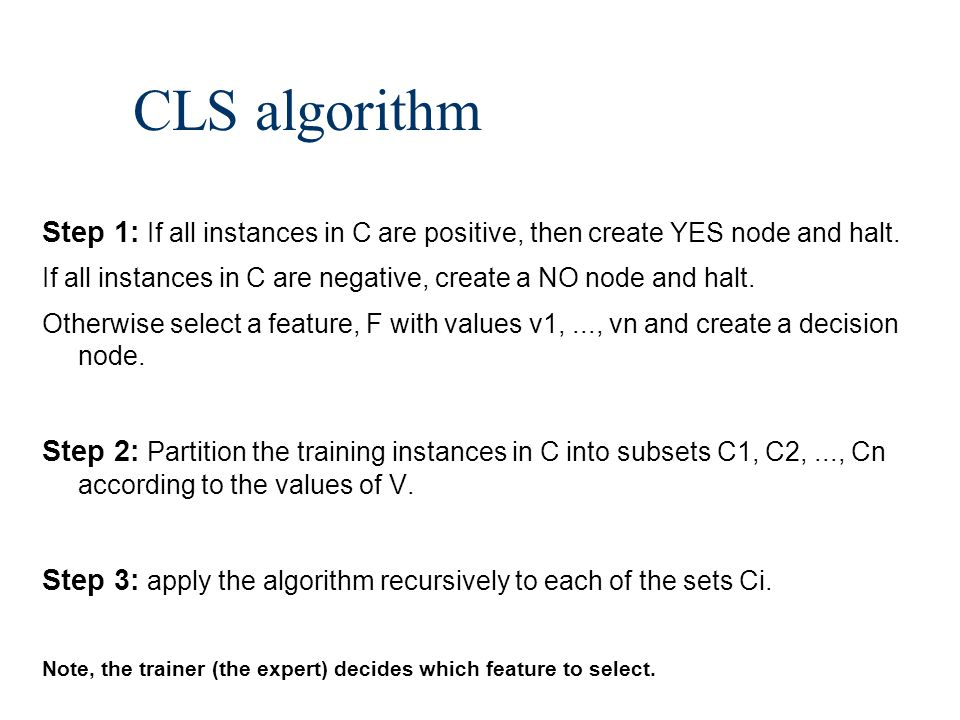CLS algorithm Step 1: If all instances in C are positive, then create YES node and halt.