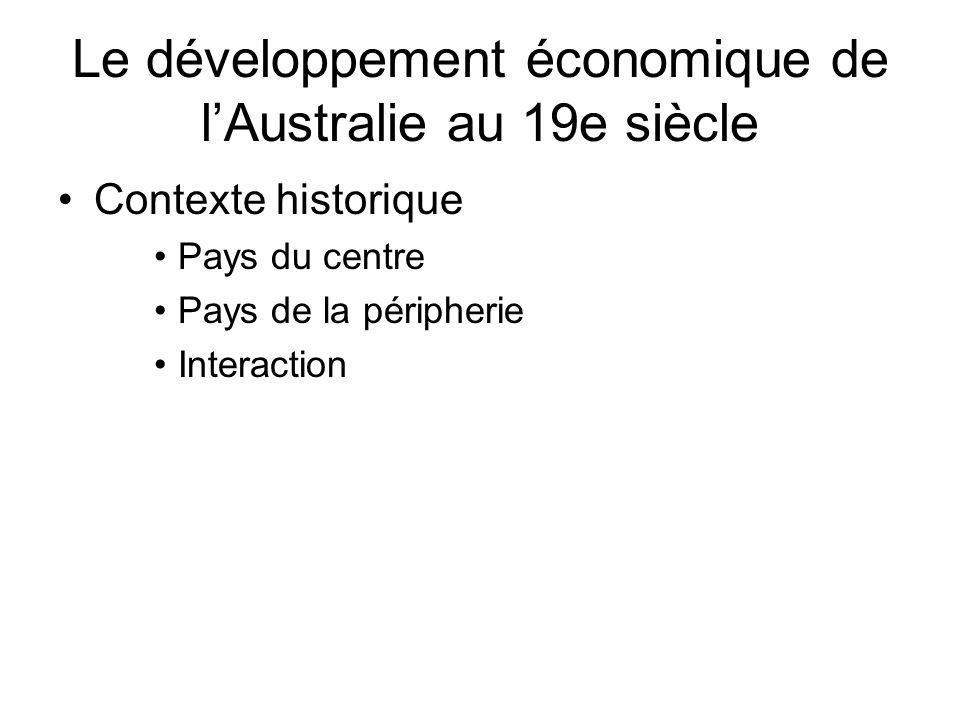 Le développement économique de lAustralie au 19e siècle Contexte historique Pays du centre Pays de la péripherie Interaction