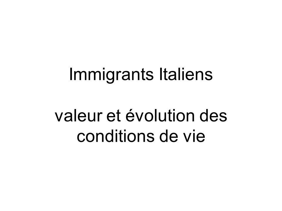 Immigrants Italiens valeur et évolution des conditions de vie