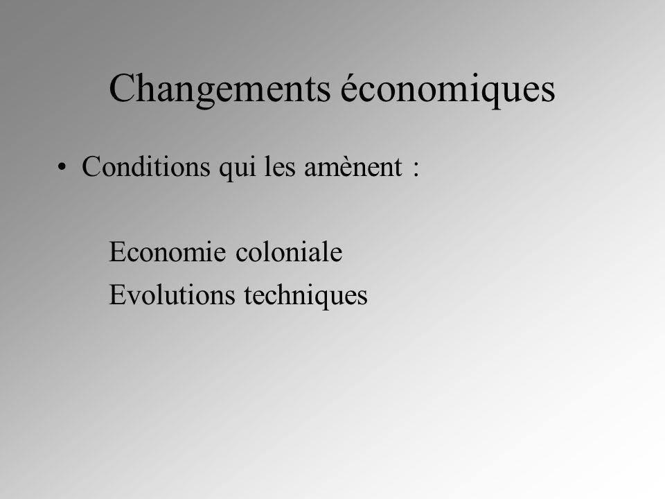 Changements économiques Conditions qui les amènent : Economie coloniale Evolutions techniques