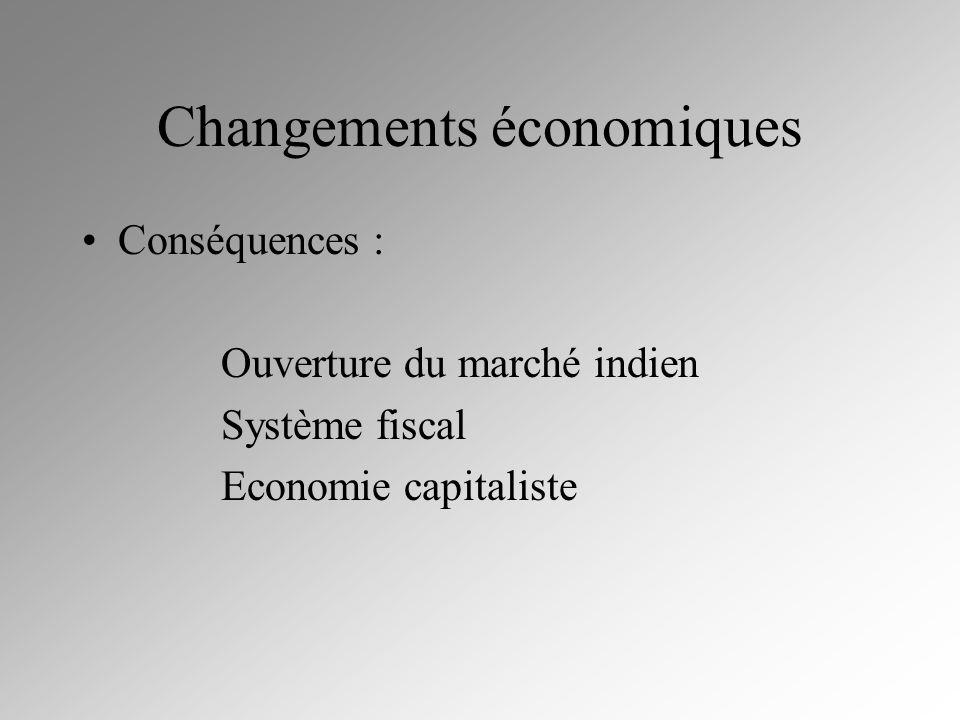 Changements économiques Conséquences : Ouverture du marché indien Système fiscal Economie capitaliste