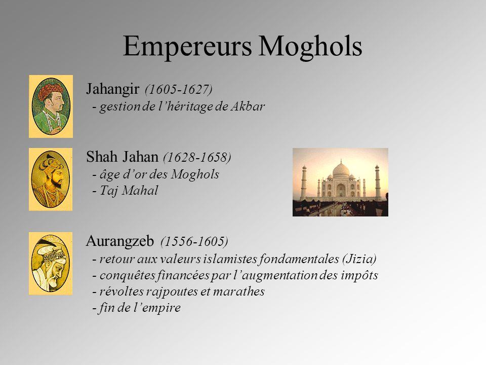 Empereurs Moghols Jahangir (1605-1627) - gestion de lhéritage de Akbar Shah Jahan (1628-1658) - âge dor des Moghols - Taj Mahal Aurangzeb (1556-1605)