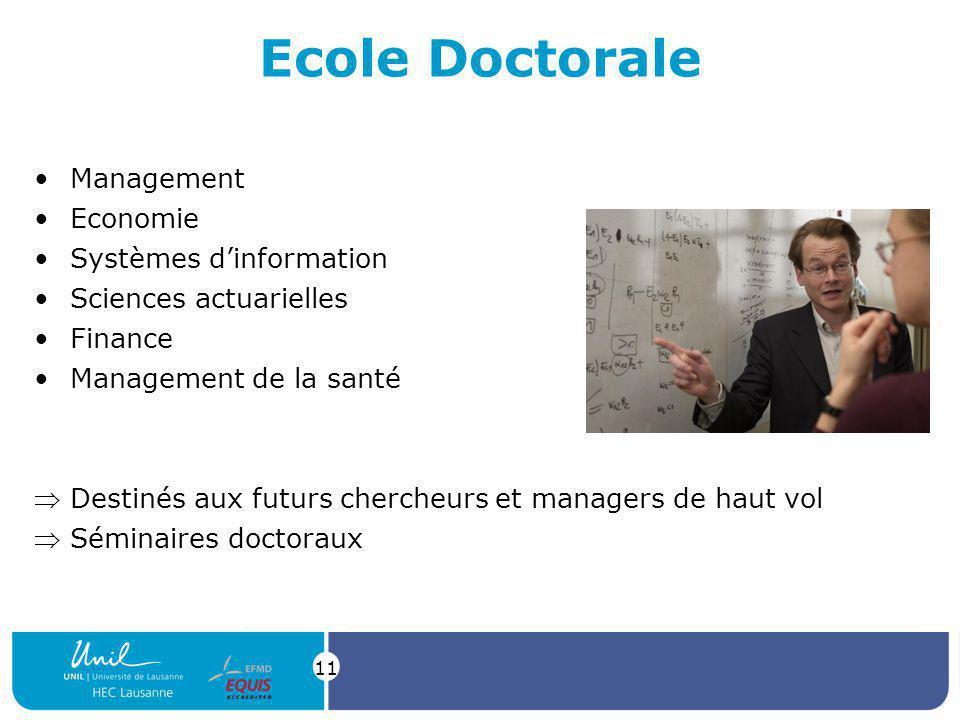 11 Ecole Doctorale Management Economie Systèmes dinformation Sciences actuarielles Finance Management de la santé Destinés aux futurs chercheurs et managers de haut vol Séminaires doctoraux