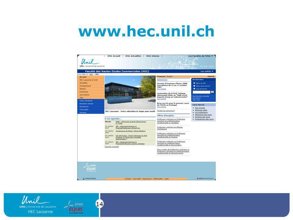 14 www.hec.unil.ch