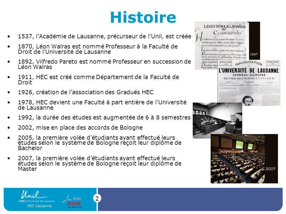2 Histoire 1537, lAcadémie de Lausanne, précurseur de lUnil, est créée 1870, Léon Walras est nommé Professeur à la Faculté de Droit de lUniversité de Lausanne 1892, Vilfredo Pareto est nommé Professeur en succession de Léon Walras 1911, HEC est créé comme Département de la Faculté de Droit 1926, création de lassociation des Gradués HEC 1978, HEC devient une Faculté à part entière de lUniversité de Lausanne 1992, la durée des études est augmentée de 6 à 8 semestres 2002, mise en place des accords de Bologne 2005, la première volée détudiants ayant effectué leurs études selon le système de Bologne reçoit leur diplôme de Bachelor 2007, la première volée détudiants ayant effectué leurs études selon le système de Bologne reçoit leur diplôme de Master