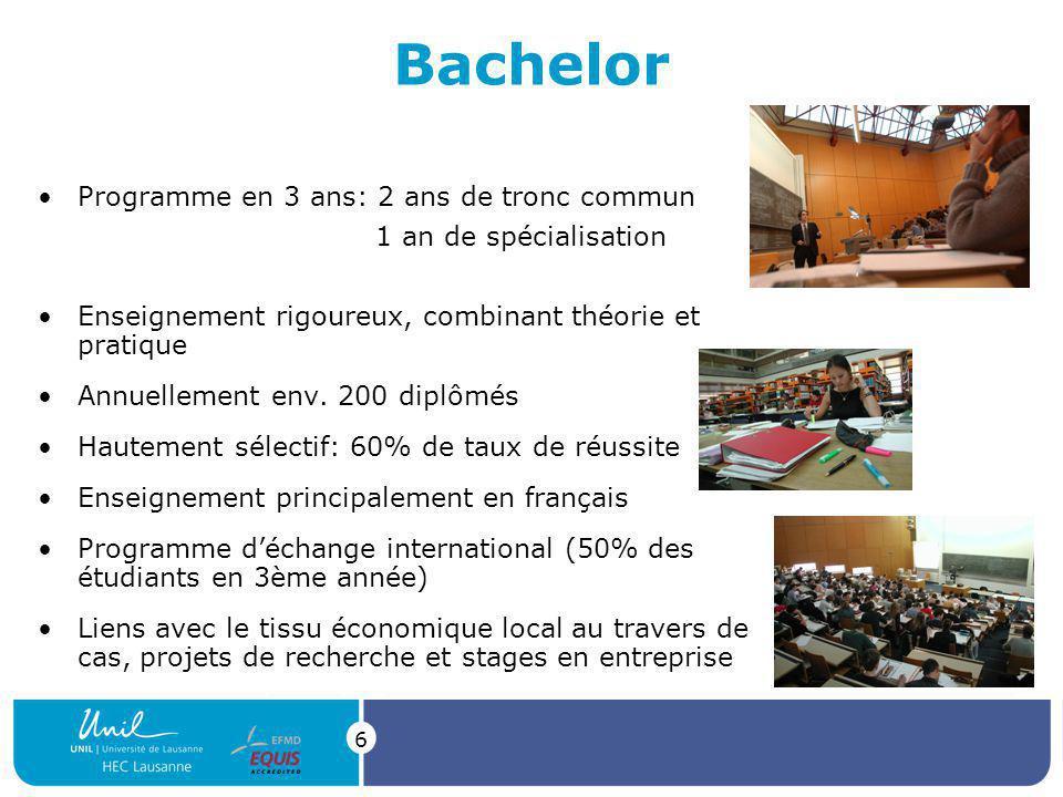 6 Bachelor Programme en 3 ans: 2 ans de tronc commun 1 an de spécialisation Enseignement rigoureux, combinant théorie et pratique Annuellement env.