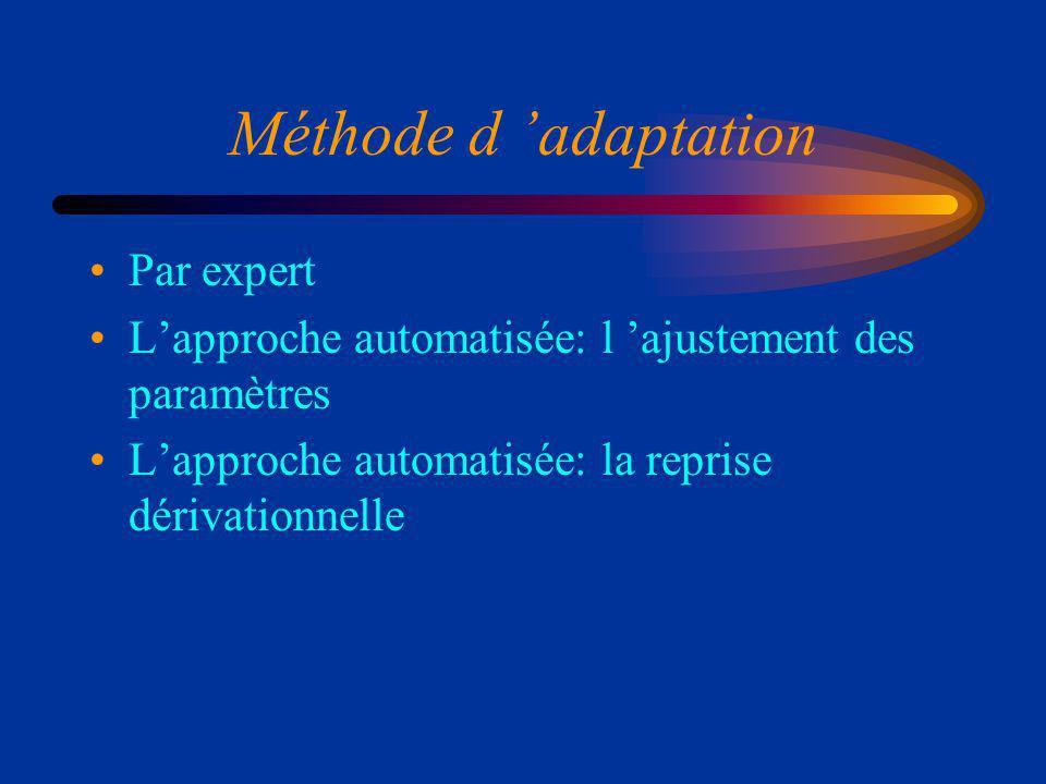 Méthode d adaptation Par expert Lapproche automatisée: l ajustement des paramètres Lapproche automatisée: la reprise dérivationnelle