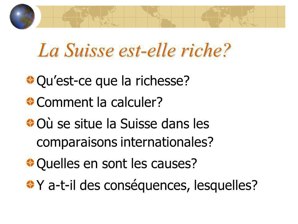 La Suisse est-elle riche. Quest-ce que la richesse.