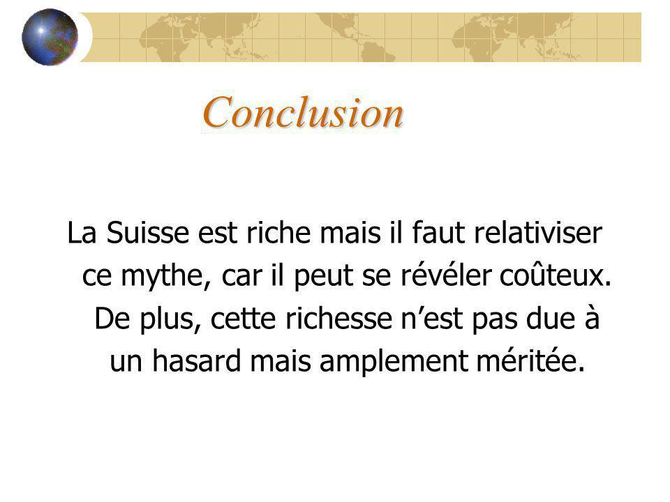 Conclusion La Suisse est riche mais il faut relativiser ce mythe, car il peut se révéler coûteux.