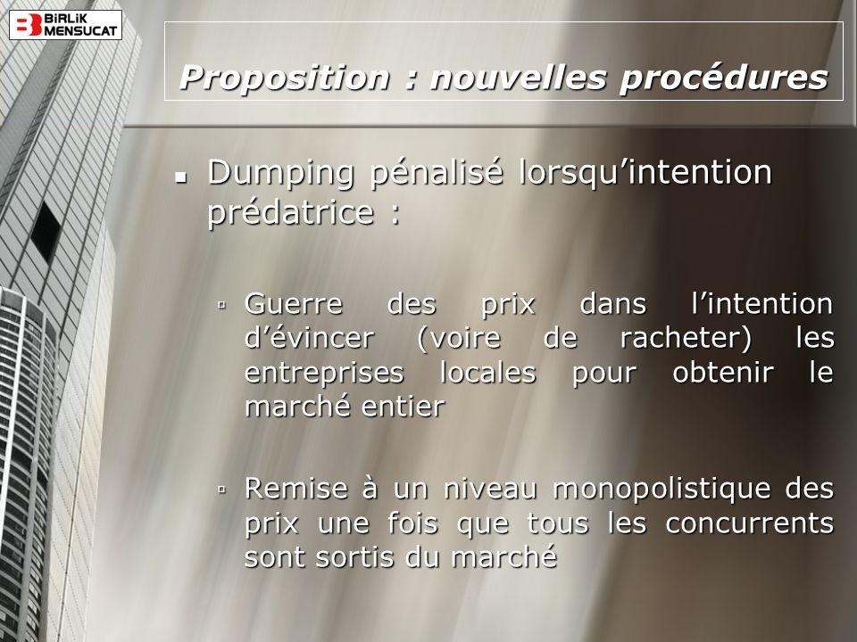 Proposition : nouvelles procédures Dumping pénalisé lorsquintention prédatrice : Dumping pénalisé lorsquintention prédatrice : Guerre des prix dans li