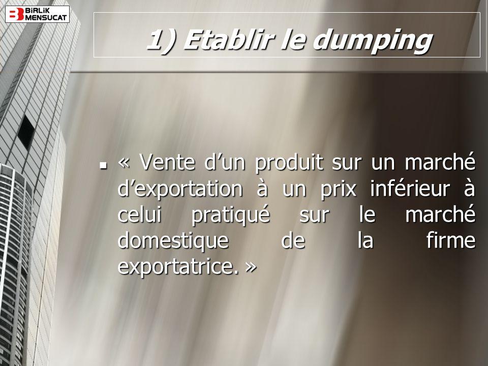 1) Etablir le dumping « Vente dun produit sur un marché dexportation à un prix inférieur à celui pratiqué sur le marché domestique de la firme exporta