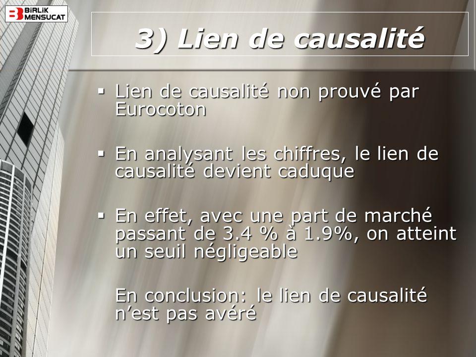 3) Lien de causalité Lien de causalité non prouvé par Eurocoton Lien de causalité non prouvé par Eurocoton En analysant les chiffres, le lien de causa