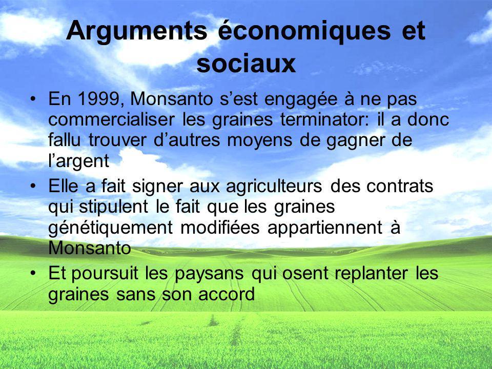 Arguments économiques et sociaux En 1999, Monsanto sest engagée à ne pas commercialiser les graines terminator: il a donc fallu trouver dautres moyens