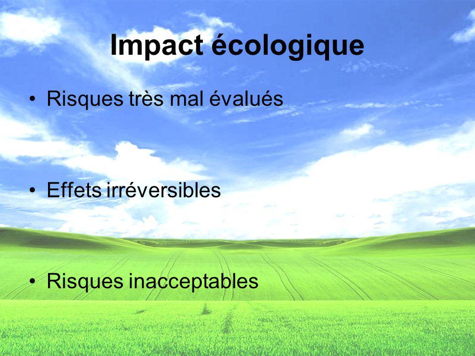 Risques très mal évalués Effets irréversibles Risques inacceptables Impact écologique