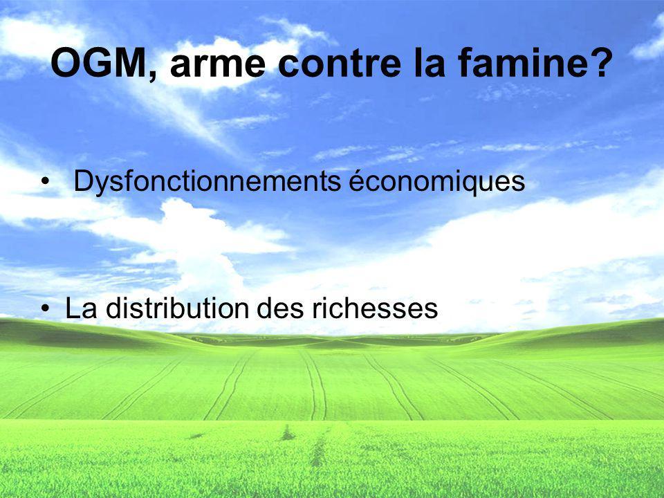 OGM, arme contre la famine? Dysfonctionnements économiques La distribution des richesses