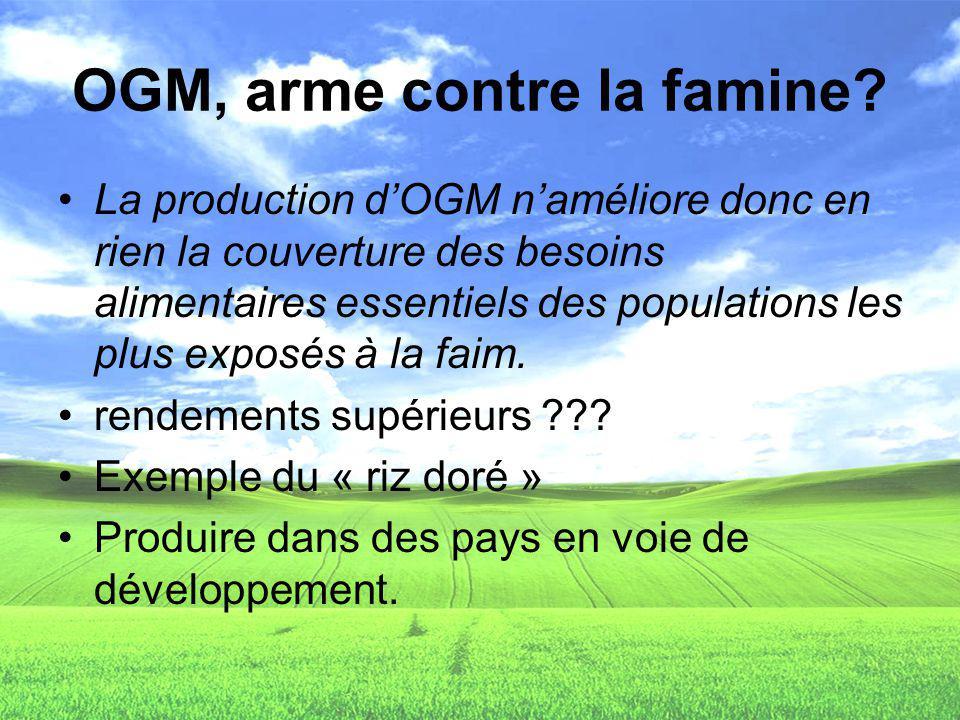 OGM, arme contre la famine? La production dOGM naméliore donc en rien la couverture des besoins alimentaires essentiels des populations les plus expos